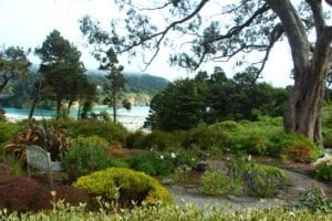 Secluded views of the ocean and Big River from the gardens of Alegria Oceanfront Inn & Cottages