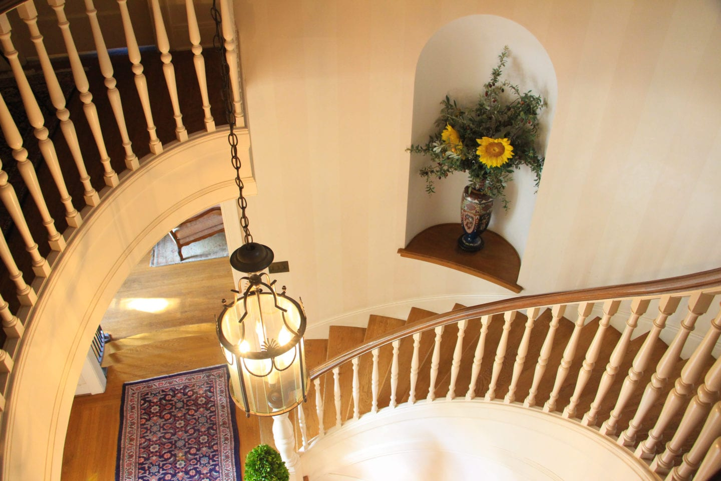 Spiral staircase at Bear Creek Inn