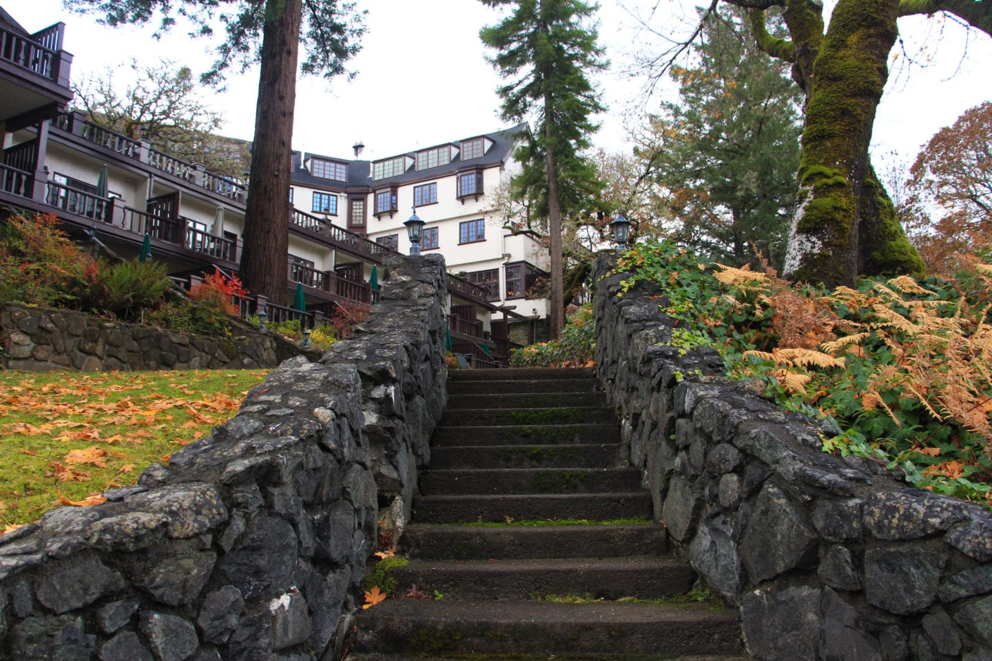 Stairs leading from Benbow Historic Inn to the Eel River