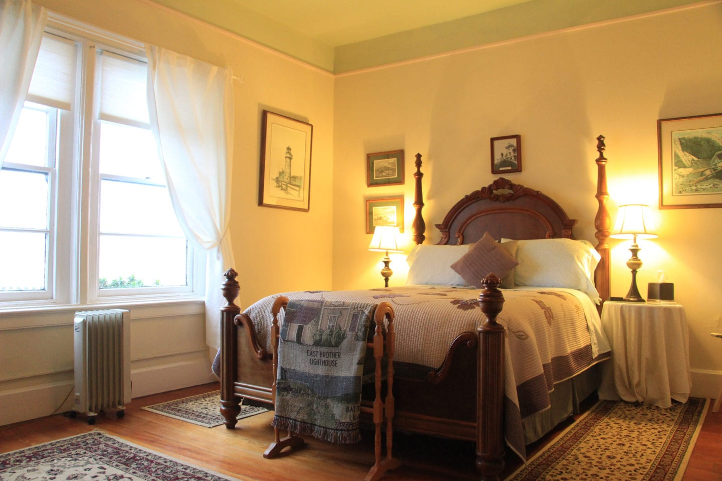 West Brother guest room at East Brother Light Station