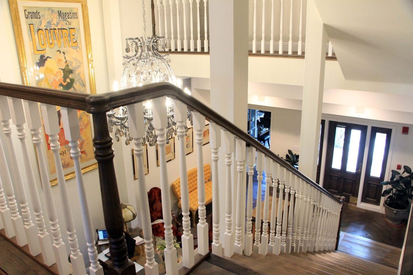 Lobby staircase at the Mirabelle Inn